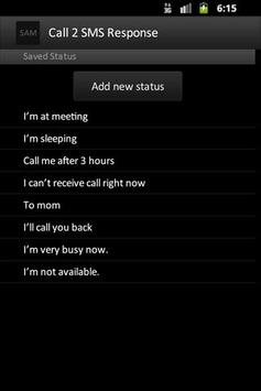 Call 2 SMS Response apk screenshot
