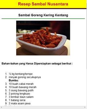 Resep Sambal Nusantara apk screenshot
