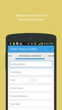 Perfect Resume Builder apk screenshot