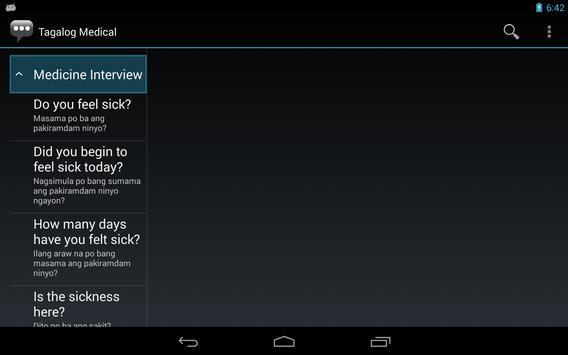 Tagalog Medical Phrases apk screenshot