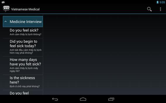 Vietnamese Medical Phrases apk screenshot