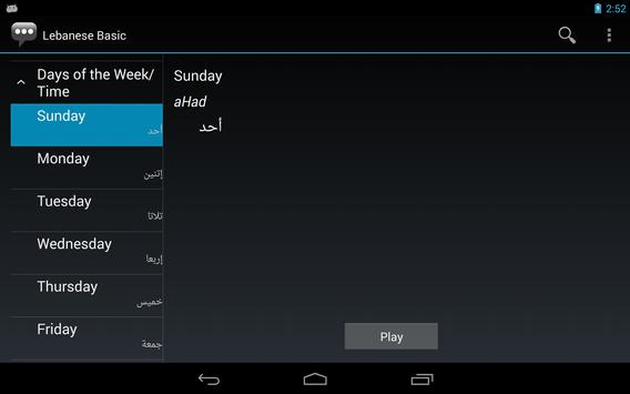 Lebanese Basic Phrases apk screenshot