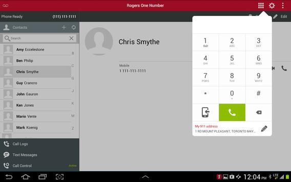 Rogers One Number Tablet apk screenshot