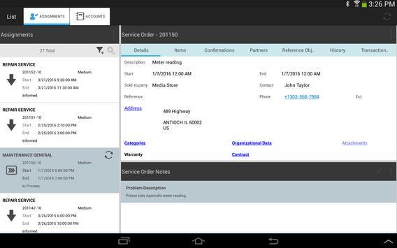 SAP CRM Service Manager apk screenshot