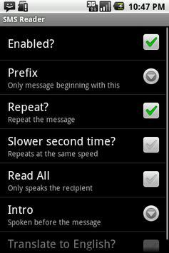 SMS Translate and Read Demo apk screenshot