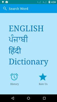 English to Punjabi and Hindi poster