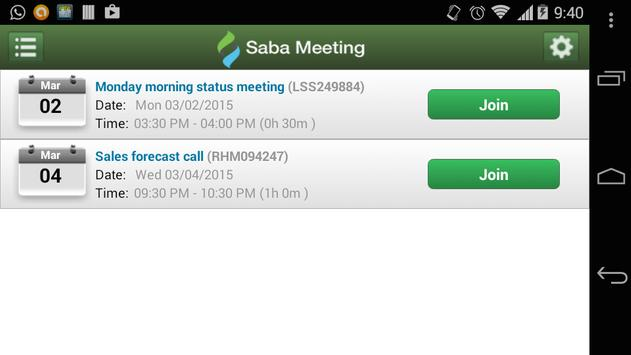 Saba Meeting apk screenshot