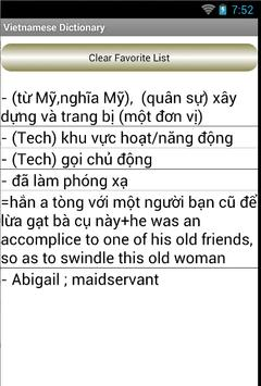 Vietnamese English Dictionary apk screenshot