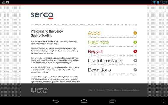Serco Say No Toolkit (tablet) poster