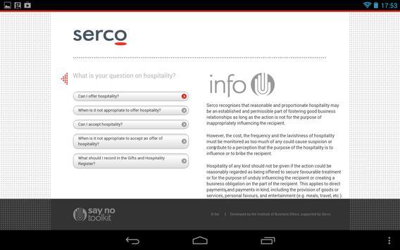 Serco Say No Toolkit (tablet) apk screenshot