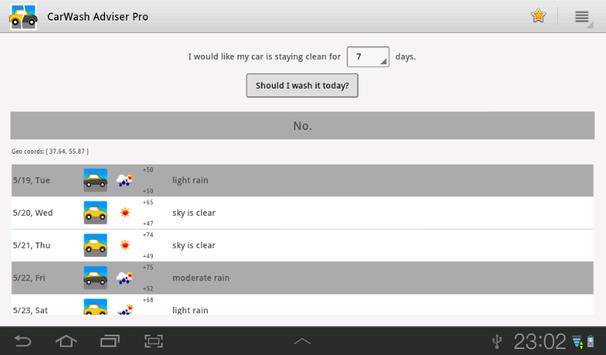 CarWash Adviser apk screenshot