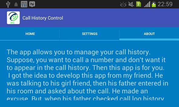 Call History Control apk screenshot