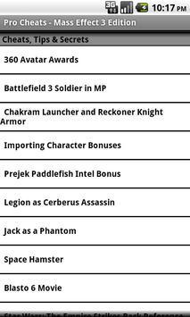 Pro Cheats - Mass Effect 3 Edn apk screenshot