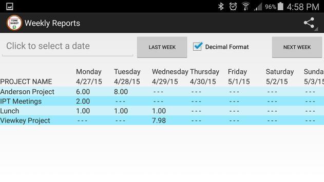 Simple TimeSheet apk screenshot