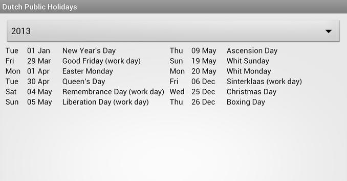 Dutch Public Holidays apk screenshot