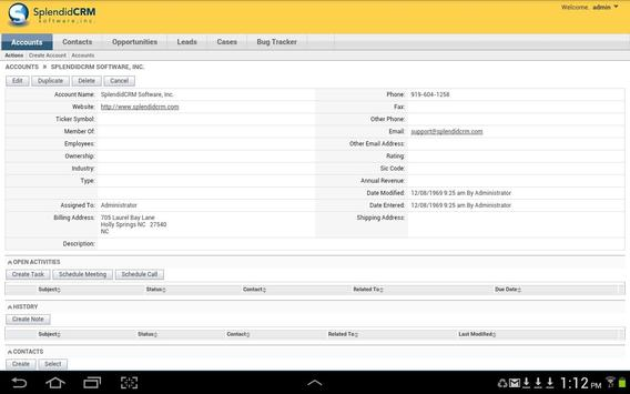 SplendidCRM Personal Edition apk screenshot