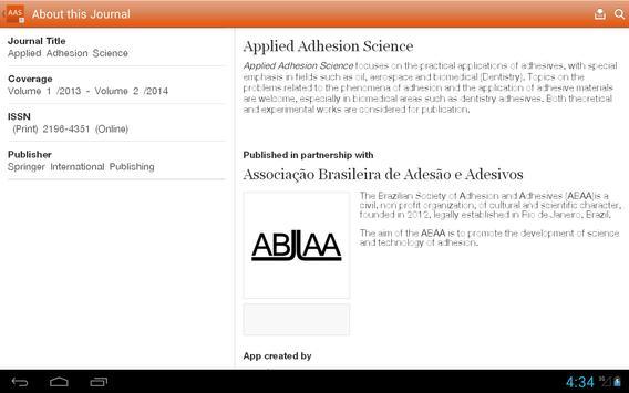 Applied Adhesion Science apk screenshot