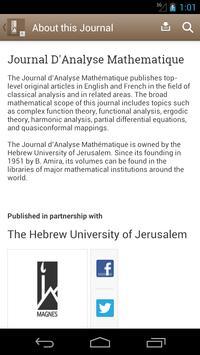 Journal D'Analyse Mathematique poster