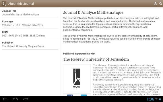 Journal D'Analyse Mathematique apk screenshot