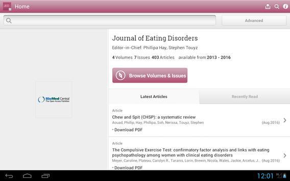 Journal of Eating Disorders apk screenshot