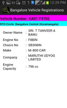 Bangalore Registered Vehicles apk screenshot