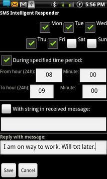 SMS Intelligent Responder-Free apk screenshot