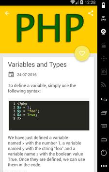 Learn PHP code apk screenshot
