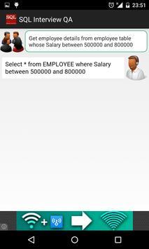 SQL query interview QA apk screenshot