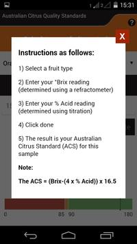 Citrus Maturity Calculator apk screenshot