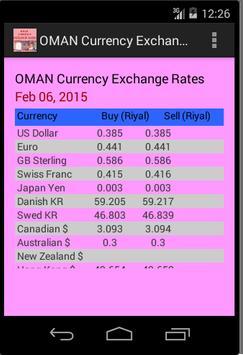 OMAN Currency Exchange Rates apk screenshot