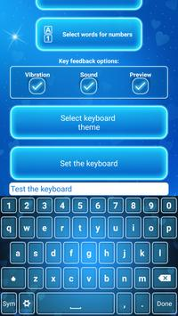 Neon Blue Keyboard with Emojis poster