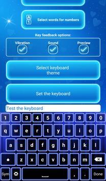 Neon Blue Keyboard with Emojis apk screenshot
