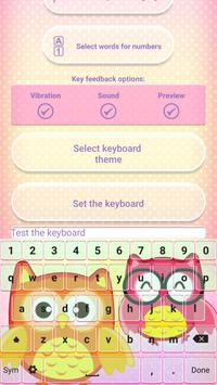 Cute Owl Emoji Keyboard apk screenshot