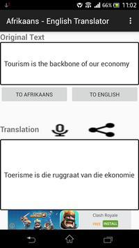 Afrikaans - English Translator apk screenshot