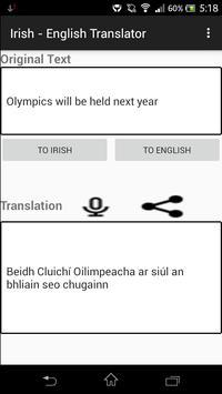 Irish - English Translator apk screenshot