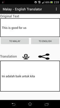 Malay - English Translator apk screenshot