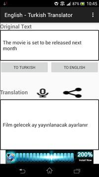 English - Turkish Translator apk screenshot