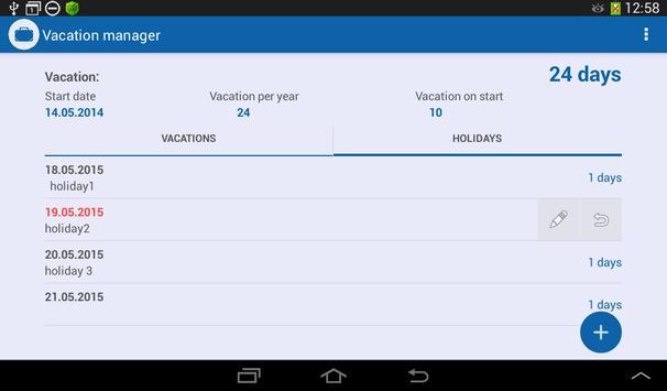 Vacation Manager apk screenshot
