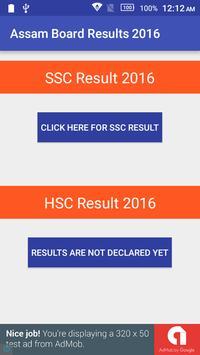 Assam Board Results 2016 poster