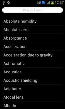 Physics Terms apk screenshot