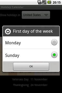 Holiday Calendar apk screenshot