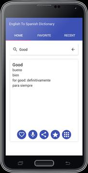 English To Spanish Dictionary apk screenshot