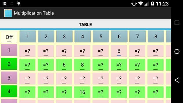 Multiplication Table Free apk screenshot