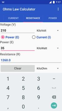Ohms Law Calculator apk screenshot