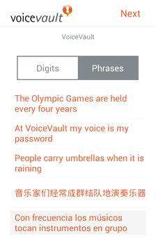 VoiceVault Vigo apk screenshot