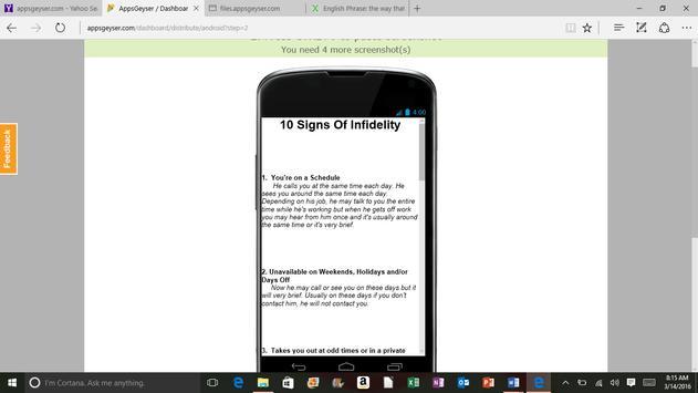 10 Signs of Infidelity apk screenshot