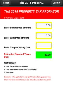 2015 Property Tax Prorator poster