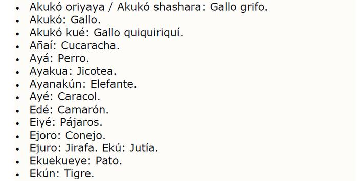 Animales Yoruba Traduccion apk screenshot