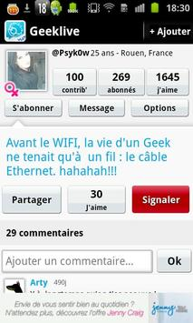 Tchat pour Geek : GeekLive apk screenshot