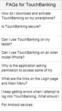 FAQs for TouchBanking poster